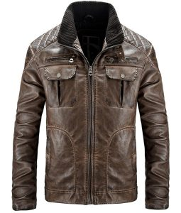 Mens Brown Destress Waxed Biker Leather Jacket
