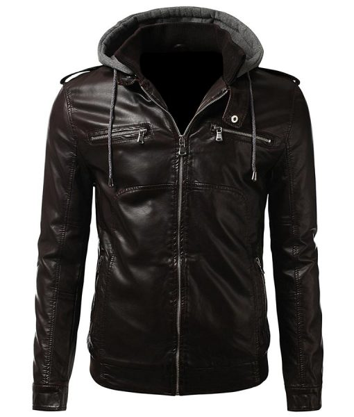 Mens Brown Slimfit Bomber Biker Leather Jacket