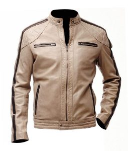 Mens Brown Stripped Beige Biker Leather Jacket