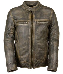 Mens Brown Waxed Café Racer Leather Jacket
