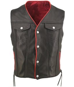 Mens Buttoned Black Leather Vest
