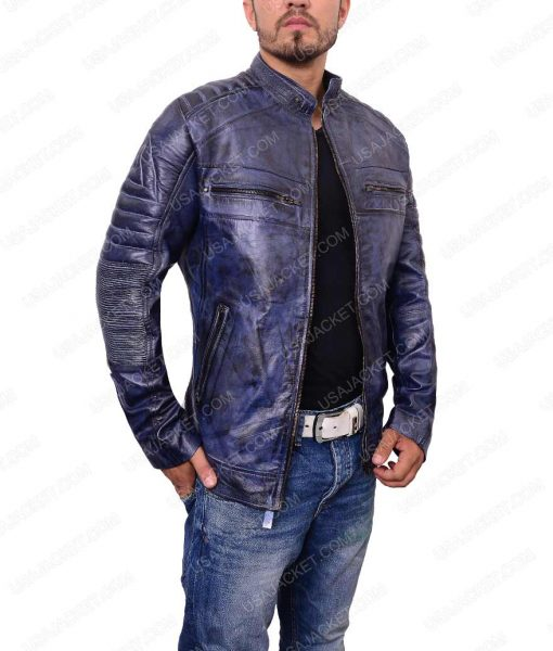 Men Café Racer Biker Leather Jacket