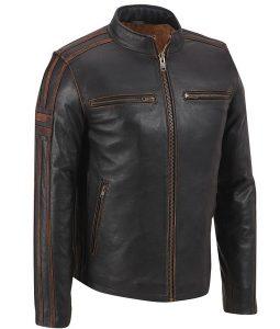 Mens Café Racer Brown Stripe Leather Jacket