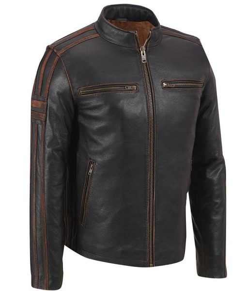 Mens Café Racer Brown Stripe Leather Jacket