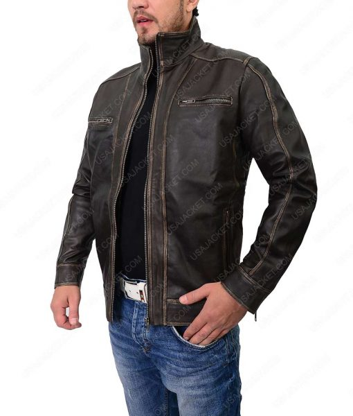 Mens Stylish Cafe Racer Leather Jacket