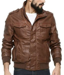 Mens Chocolate Brown Bomber Biker Leather Jacket