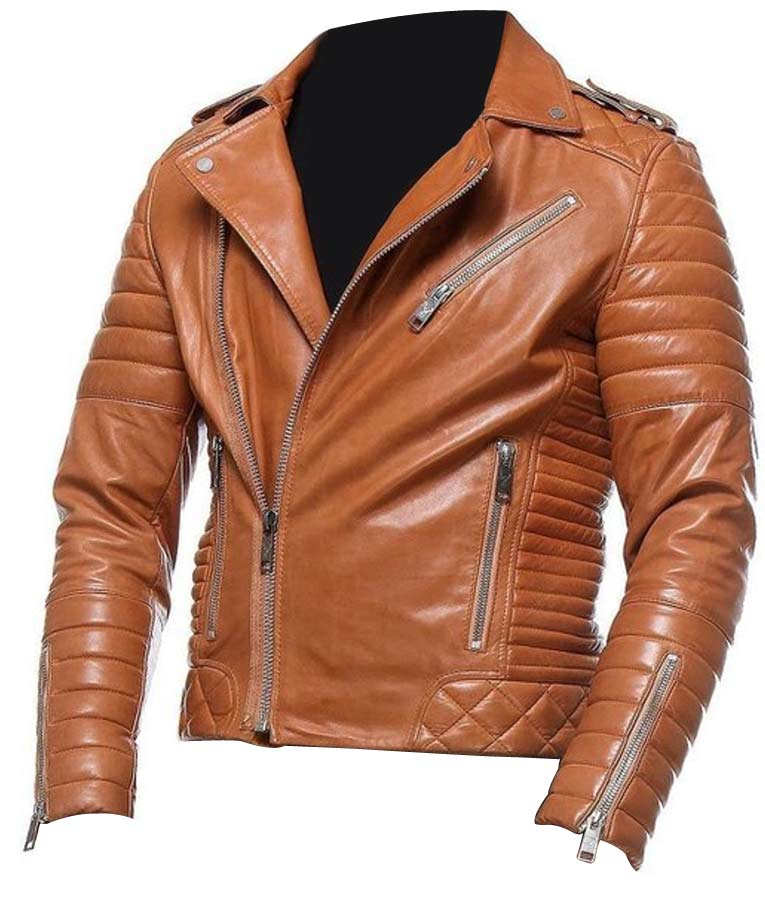 Mens Tan Classic Style Bikers Leather Jacket Usa Jacket