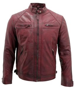 Mens Destressed Burgundy Café Racer Leather Jacket