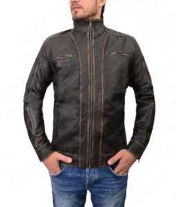 Mens Cafer Racer Four Pockets Leather Jacket