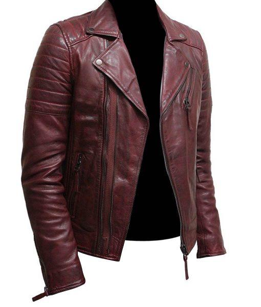mens double zip up burgundy bikers leather jacket
