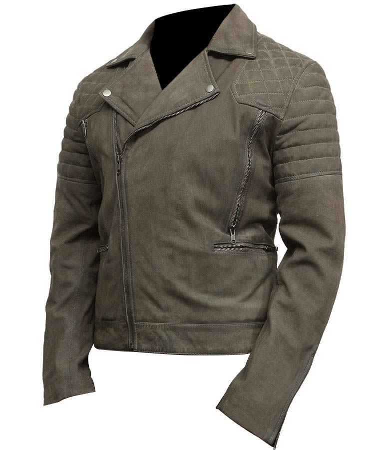 Mens Classic Motorcycle Grey Suede Leather Jacket Usa Jacket