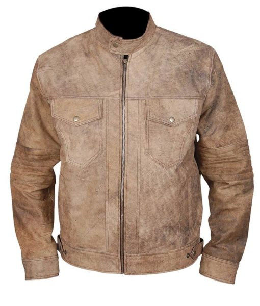 Mens Khakhi Distressed Vintage Café Racer Jacket