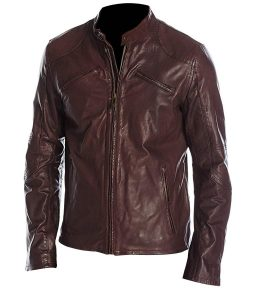 Mens Maroon Shoulder Padded Café Racer Jacket