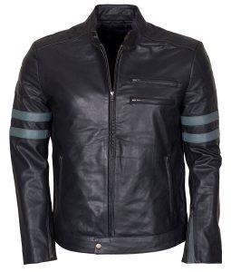 Mens Mayhem Retro Blue Stripe Biker Jacket