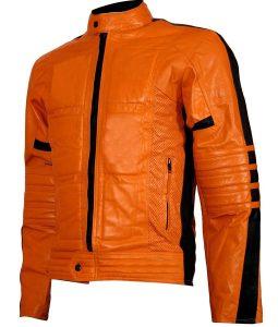 Mens Padded Orange Biker Leather Jacket