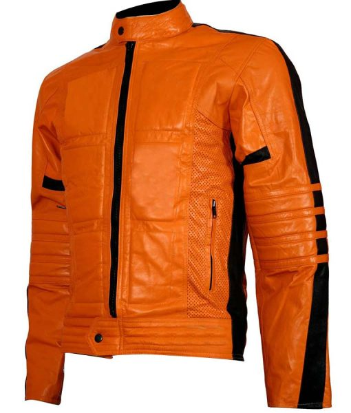 Mens Padded Orange Biker Leather Jacket