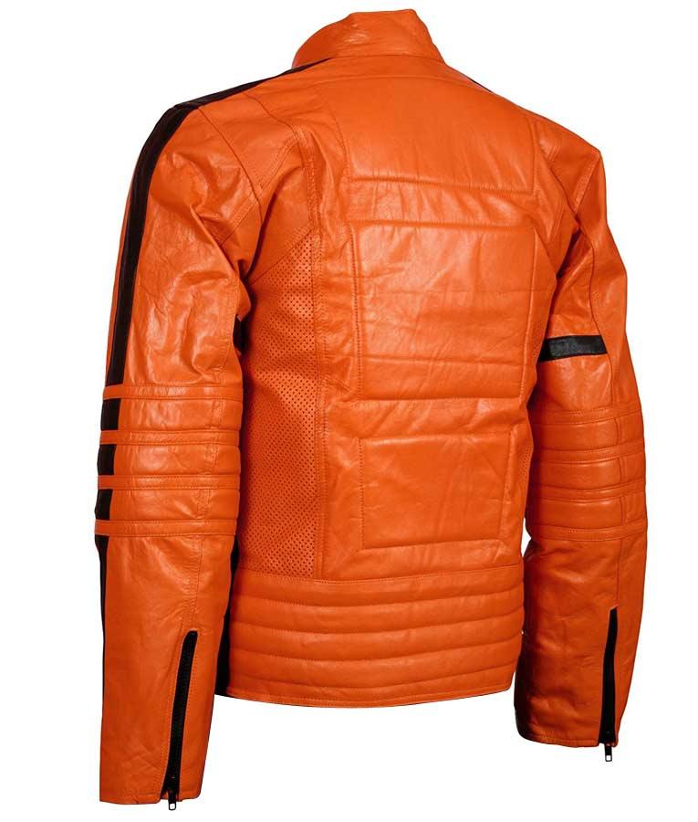mens slimfit padded orange biker leather jacket