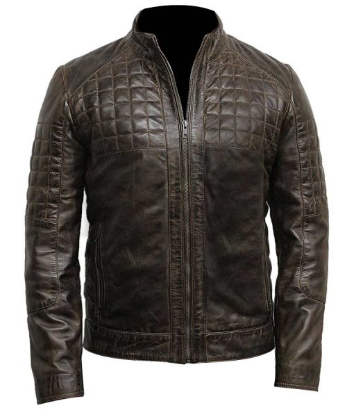 Mens Quilted Desine Brown Café Racer Jacket