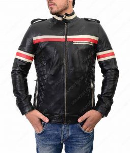 Mens Black Motorcycle Jacket