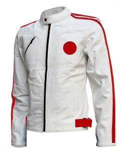 Mens Red Detailed White Café Racer Leather Jacket
