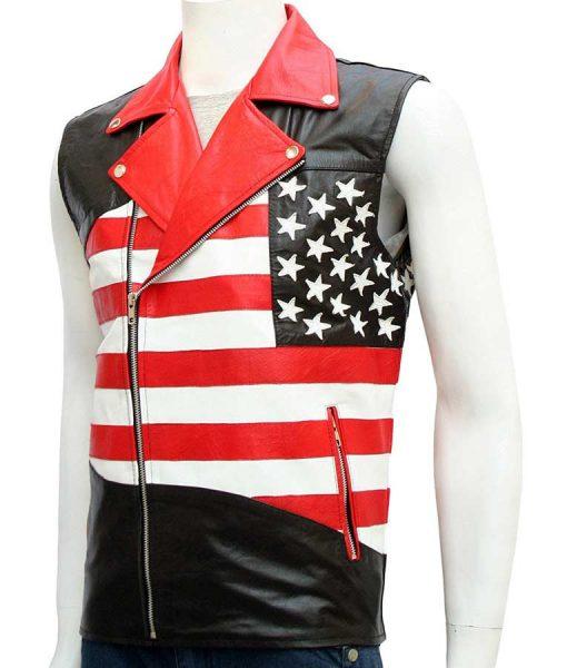 Mens Slimfit American Flag Motorcycle Leather Vest