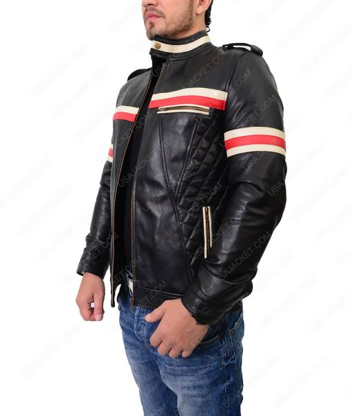 Mens Red And White Striped Black Biker Jacket