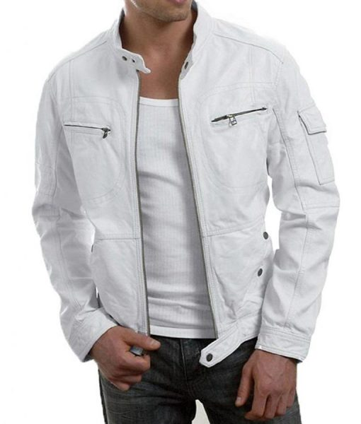 Mens Slimfit White Biker Leather Jacket