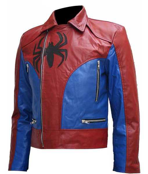 Mens Spiderman Style Biker Leather Jacket