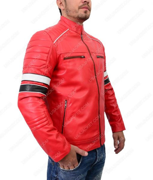 Striped Shoulder Padded Café Racer Red Leather Jacket