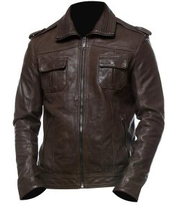 Mens Stylish Dark Brown Biker Leather Jacket