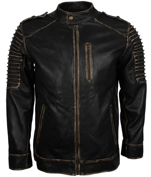 Mens Suicide Squad Joker Black Biker Leather Jacket