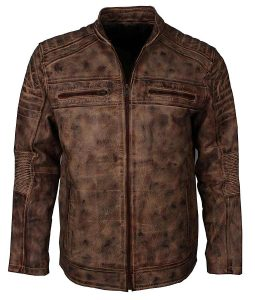 Mens Vintage Brown Waxed Café Racer Jacket