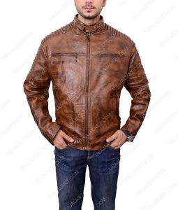 Brown Bikers Café Racer Leather Jacket