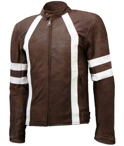 Mens White Detailed Brown Café Racer Leather Jacket