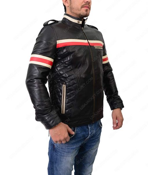 Mens Slimfit Red And White Striped Motorcycle Leather Jacket
