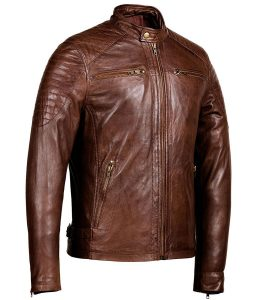 Mens Zipper Pockets Brown Café Racer Jacket