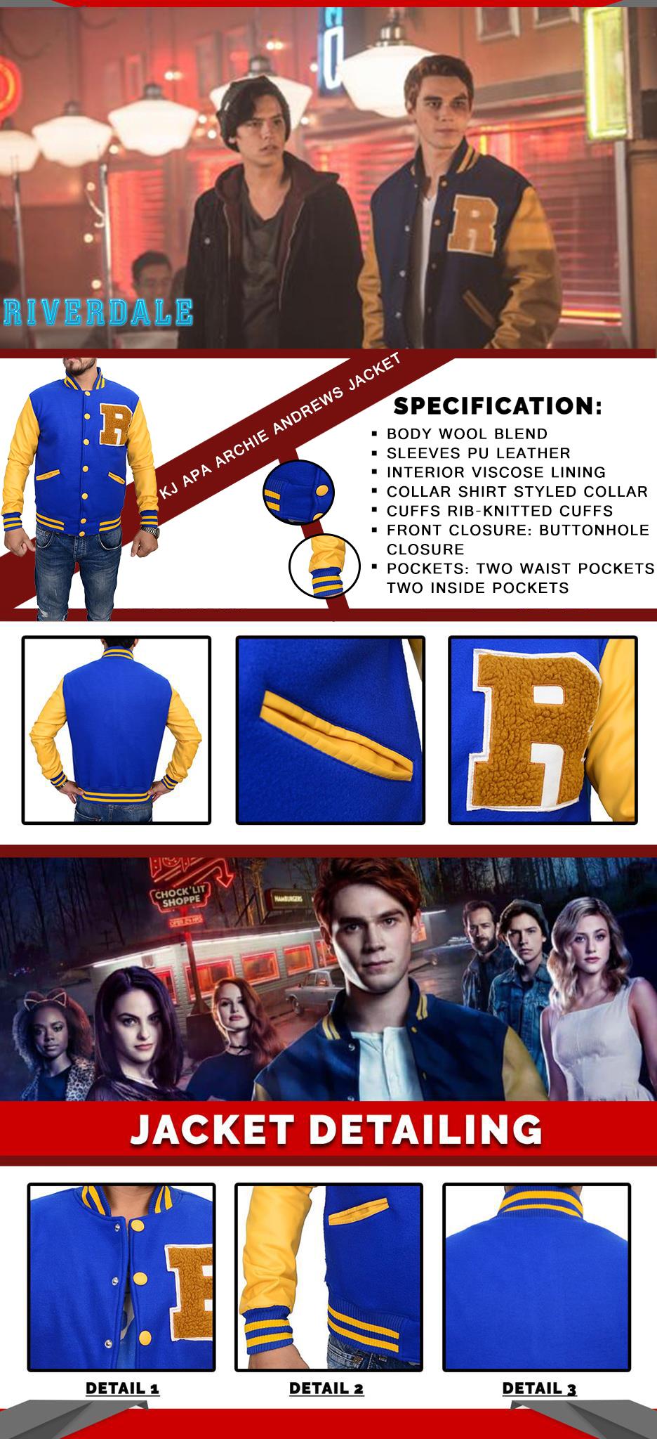 Riverdale K.J Apa Archie Andrews Varsity Jacket Infographi