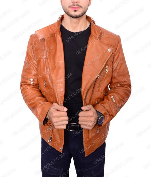 Slim fit Padded Design Brown Leather Jacket