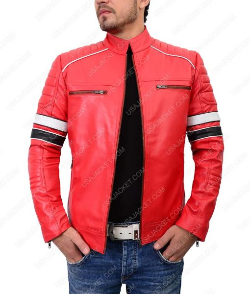 Retro Style Mens Red Leather Jacket