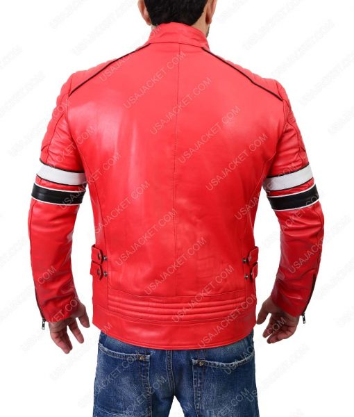 Striped Detailed Café Racer Red Biker Leather Jacket