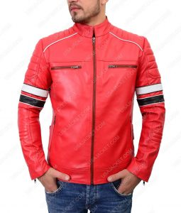 Striped Red Café Racer Leather Jacket