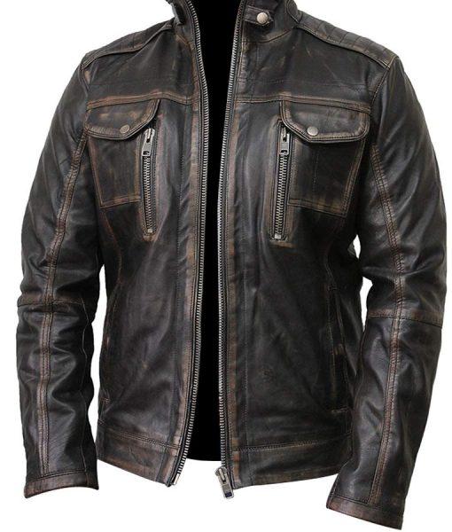 Waxed Detailed Mens Black Vintage Biker Jacket