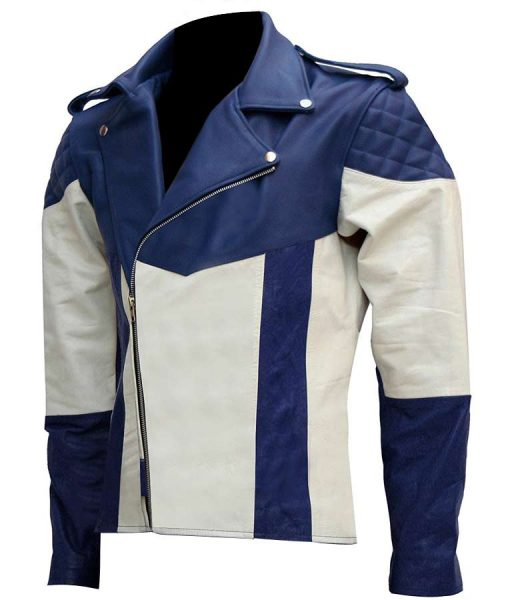 White And Blue Mens Motorcycle Leather Jacket