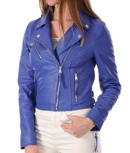 Womens Blue Slimfit Motorcycle Leather Jacket