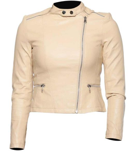 Womens Classic Moto Style Beige Leather Jacket