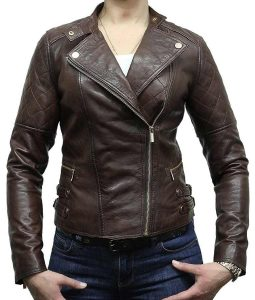 Womens Classic Motorcycle Dark Brown Moto Leather Jacket