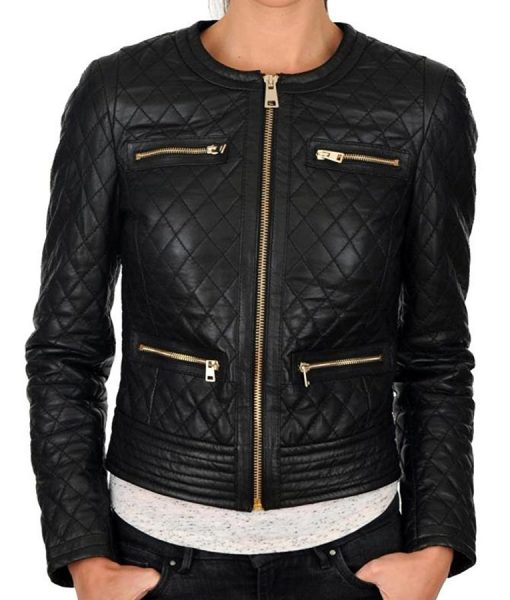 Womens Collarless Slimfit Quilted Biker Leather Jacket