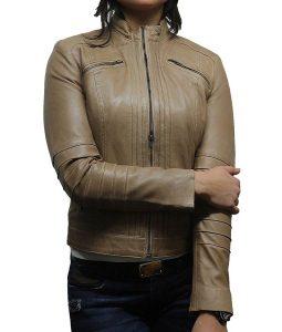 Womens Four Pockets Café Racer Style Beige Biker Leather Jacket