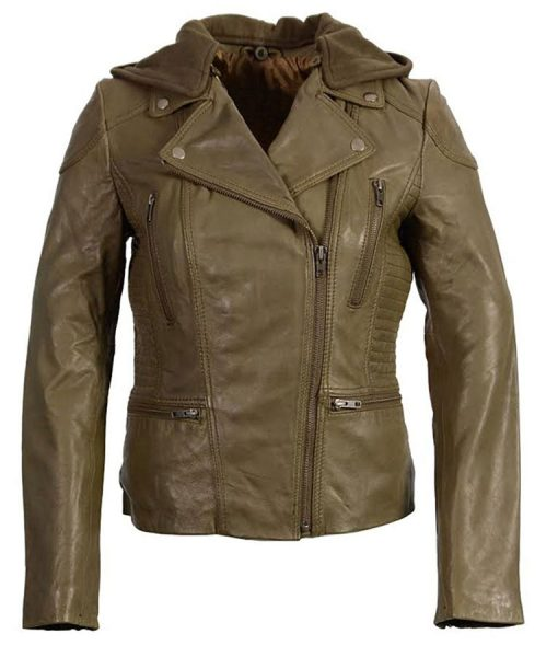 Womens Hooded Motorcycle Olive Leather Jacket