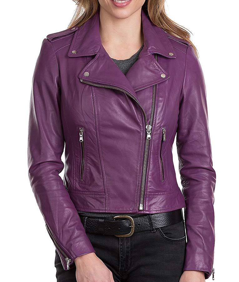 Purple leather motorcycle jacket